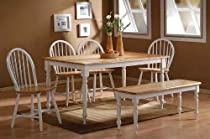 Hot Sale Boraam 86369 6-Piece Farmhouse Dining Room Set, White/Natural
