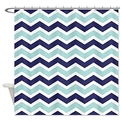Nautical Chevron Light Blue Shower Curtain