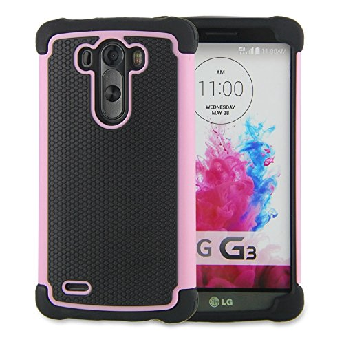 LG G3 Case,G3 Case Protective*HOT* [Drop Protection][shockproof][Rugged],Rubber+Hard case cover and Dual Layer Protective Case for LG G3(2015)-(pink) (Lg G3 Phone Case Speck compare prices)