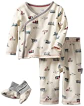 Vitamins Baby-boys Newborn 3-piece Train Pajama Set, Ivory, 6 Months