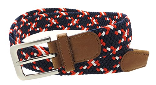 Mens Colorful Braided Stretch Belt Silver Metal Buckle (Navy/Red/White-M)