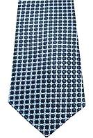 COLLAR AND CUFFS LONDON - Hochwertige Krawatte - Handgefertigte - Marineblau und Himmelblau - Kleine Quadrate Muster - Für Herren