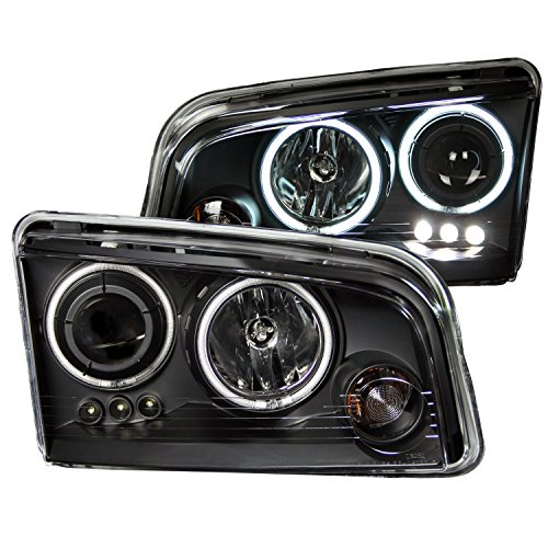 Anzo USA 121218 Dodge Charger Black Clear Projector with Halos Headlight Assembly - (Sold in Pairs) (Halo Headlights Dodge Charger compare prices)