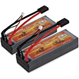 2 Packs Floureon 7.4V 5200mAh 30C Li-Polymer Lipo RC Battery Pack with TRX Traxxas Plug Connector for RC Airplane, RC Helicopter, Car/Truck, Boat, Evader BX, Hobby