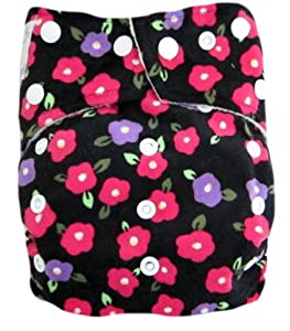 """Kawaii Baby Mom Label Bamboo Minky One Size Pocket Cloth Diaper with 2 Large 100% Bamboo Inserts """" Begonia """""""