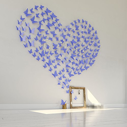 Mariposa Appear in Gossip Girl 12pcs/pack 3D Decorative Butterflies Removable Wall Art Stickers Wedding Decor - by Gefii (! ! Lavender) - 1