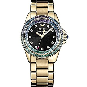 Juicy Couture 1901209 Ladies Stella Stone Set Gold Steel Watch With Black Dial