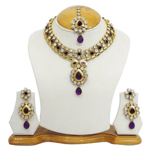 Party Wear Antique Gold Tone Purple CZ Necklace Set Indian Women Wear jewellery