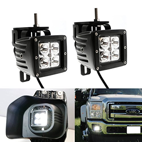 iJDMTOY 40W CREE High Power LED Fog Light Kit w/ Bumper Metal Mounting Brackets For 1999-2016 Ford F-250 F-350 F-450 Super Duty (Ford Mounting Bracket compare prices)