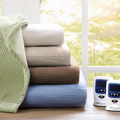 Micro Fleece Polyester Heated Blanket Size: Queen, Color: Blue front-1058603