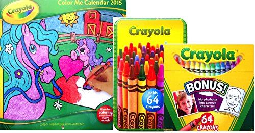 Crayola Color Me Calendar 2015 With Crayons Included And Crayon Tin Box Holder (Color Me Version 1 Set 64) front-969307