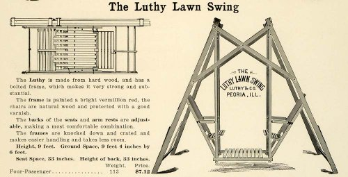 1912 Ad Antique Wooden Lawn Swing Garden Luthy