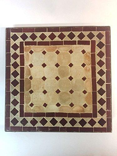 ORIGINAL Marokkanischer gartentisch Marrakesch Natur Bordaux - Eckig 40x40cm