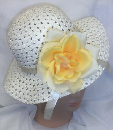 Cream Yellow Easter Hat Woven Spring Hat W/ Large Yellow Rose Tea Party Or Dress Up