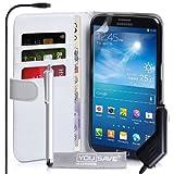 Yousave Accessories Pack d'Etui portefeuille en PU cuir Blanc + Stylet + Chargeur allume-cigare pour Samsung Galaxy Mega 6.3