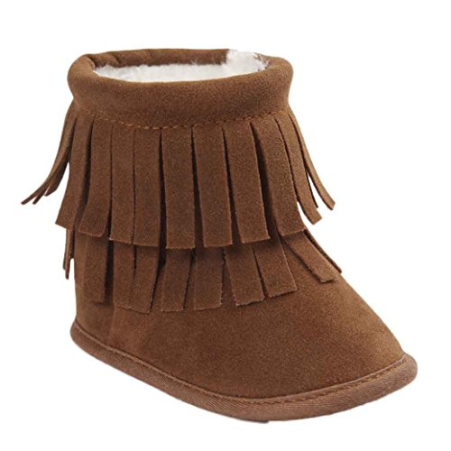 Voberry Baby Toddler Girls Boys Winter Warm Snow Boot Tassels Trimmed Boots Outdoor (0~6Month, Khaki)