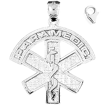 Charm Obsession's 14K White Gold 30mm Medical Alert Caduceus Charm w/ Lobster Clasp