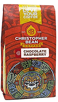 Christopher Bean Coffee Flavored Ground Coffee, Chocolate Raspberry, 12 Ounce