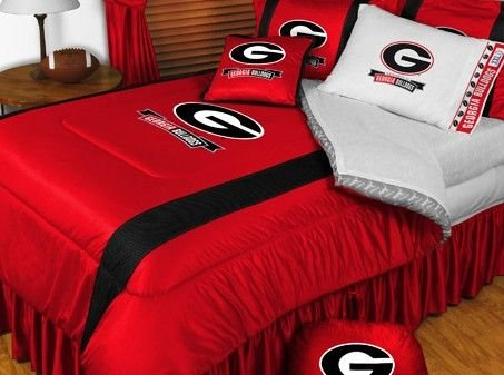 University Of Georgia Bulldogs NCAA Bedding - Sidelines Comforter and Sheet Set Combo - Twin (Bulldog Bedding compare prices)