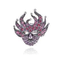 New Orleans Masquerade Harlequin Mask Mardi Gras Pink Crystal Rhinestone Ring