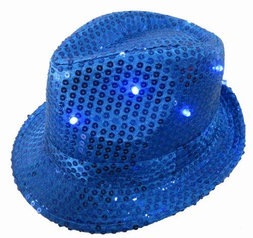 WeGlow International Light Up Sequin Fedora Hat, Blue - 1