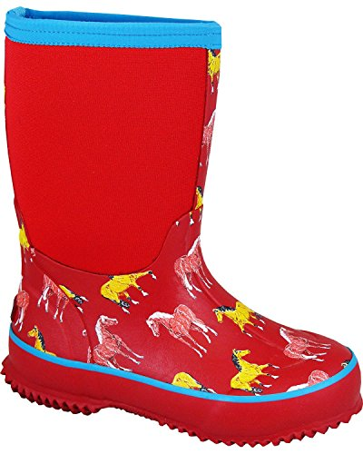 Smoky Mountain Toddler-Girls' Horsin' Around Waterproof Boot Red US