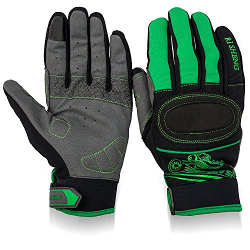 SYRINX Professional Cycling Gloves Sport Breathable Touchscreen Gloves with Gel Pad Shock-absorbing Full Finger Bike Gloves Bicycle Gloves Green (S)