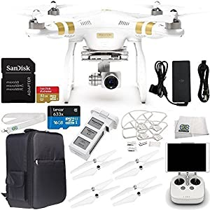 DJI Phantom 3 Professional Quadcopter Drone with 4K UHD Video Camera with Manufacturer Accessories Plus Quick-Release Snap On/Off Prop Guards (Set of 4) + Backpack for DJI Phantom 3 Series + MORE