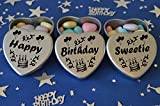 Happy Birthday Sweetie Gift. Set of 3 Silver Mini Heart Tins Filled With Chocolate Dragees. Perfect Birthday Gift Present .Tin size 45mm x 45mm x20mm. (Sweetie)