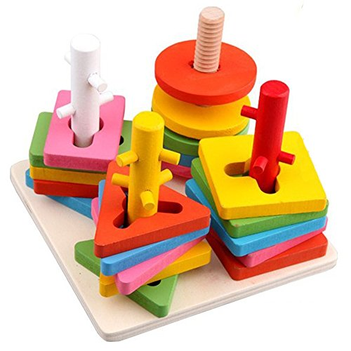 Baby Wooden Building Blocks Wise Disk Four Column Set Educational Toy Christmas Gift (Building Block Baby Walker compare prices)