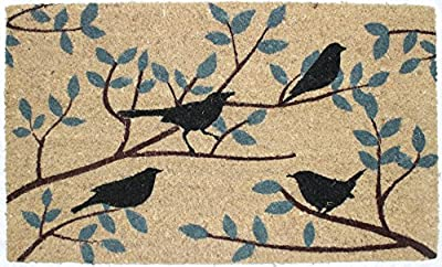 "J & M Home Fashions Birds Vinyl Back Coco Doormat, 18"" x 30"""