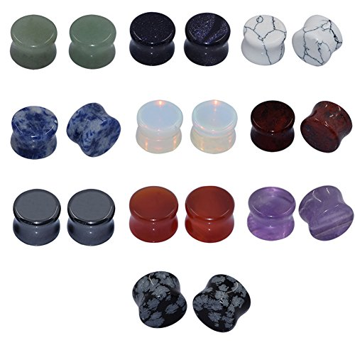 Longbeauty 10Pairs Mixed Stone Saddle Ear Plugs Stretcher Expander Tunnels Ear Gauges Piercing Jewelry 8MM (Size 8 Plugs compare prices)