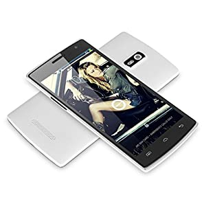 Unlocked DOOGEE® HITMAN DG850 5.0'' Android 4.4 Kitkat 3G Smartphone -- IPS 5-Points 1280 x 720 Touchscreen MTK6582 Quad Core 1.3GHz 1GB RAM 16GB ROM Cellphone Dual SIM GPS 8MP+5MP Cameras Bluetooth Google Play Store Phablet For Orange O2 Vodafone 3 network T-Mobile Tesco Mobile Virgin Mobile Network 2G & 3G SIM Card (White)