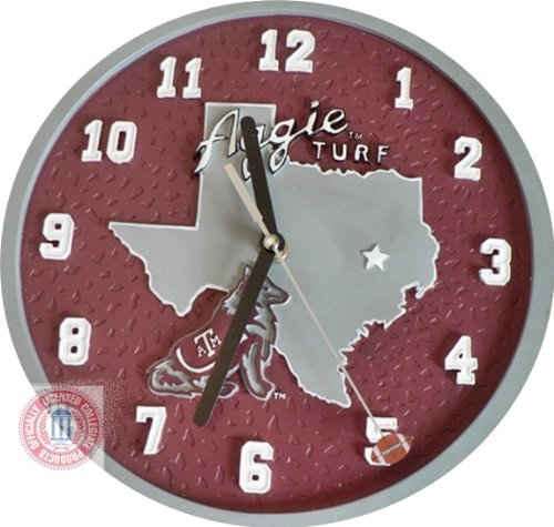 NCAA TEXAS A & M AGGIES FOOTBALL WALL 9 inch HEAVY CLOCK