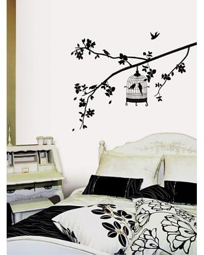 Ambiance Live Wall Decal Boom en vogels in een kooi zwart