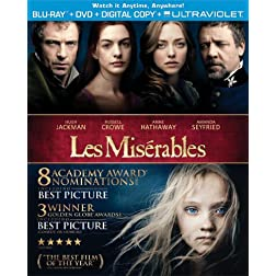 Les Mis&eacute;rables (Two-Disc Combo Pack: Blu-ray + DVD + Digital Copy + UltraViolet)
