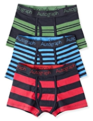 3 Pack Autograph Cotton Rich Varied Striped Trunks