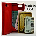 iFunner iT�r, iPhone 4 Case, Hard Plastic Durable ID Slim Wallet Cases, Holds 4 Credit Card Types, Fits AT&T and Verizon, Red ~ iFunner