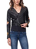 DROLE DE COPINE Chaqueta Cropped Biker With Tacks And Birds Embroidery (Negro)