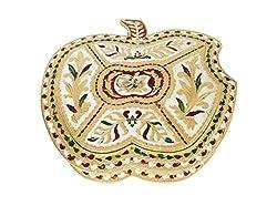 Lavender Craft APPLE shaped Handmade Meenakari Decorative Platter/Dry Fruit Box - BIGGEST (10.12 x 10.25 x 1.75 Inches)