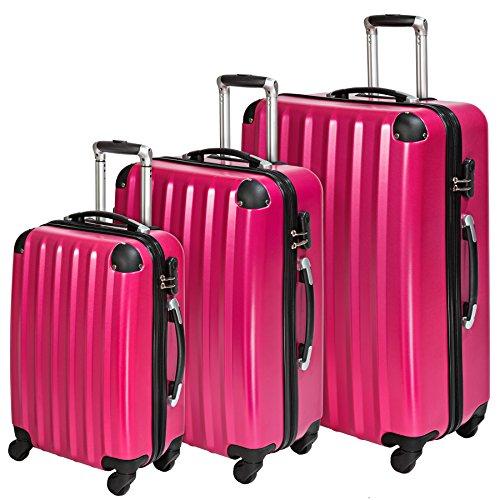 TecTake policarbonato trolley valigia valigie set rigido borsa rosa