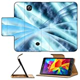 Luxlady Premium Samsung Galaxy Tab 4 7.0 Inch Flip Pu Leather Wallet Case Digital abstract shapes glowing in blue tones IMAGE 19863052