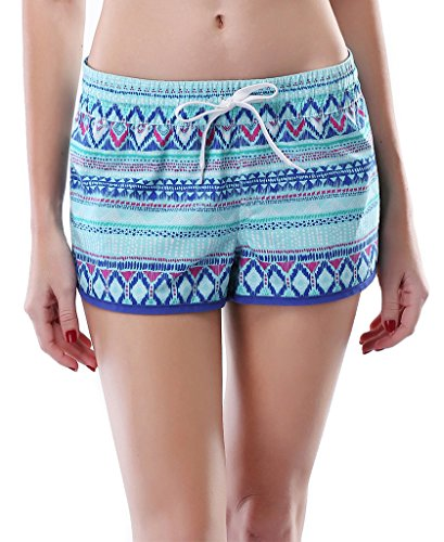 Attraco-Womens-Retro-Wave-Print-Swim-Trunk-Girls-Board-Swim-Shorts