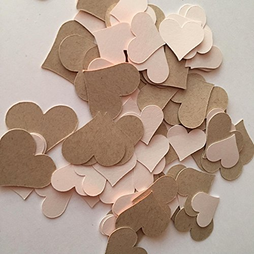 Taupe and Pale Pink Hearts - RUSTIC Heart Confetti - Table Décor - WEDDING - Bridal Shower - Bachelorette - Valentines - Blush - Embellishments - Eco Friendly - Recycled Cardstock - 100 pieces
