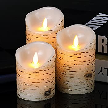 Good Electonic 4-inch / 5-inch / 6-inch Drip-less Wax Pillar LED Candles with Remote Control, Birch, Set of 3
