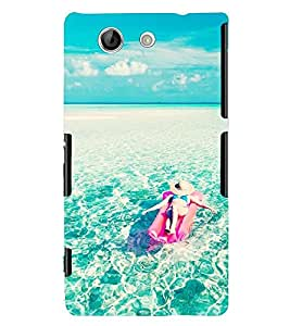 Printvisa Girl Relaxing With The Oceanic Waves Back Case Cover for Sony Xperia Z4 Mini::Sony Xperia Z4 Compact