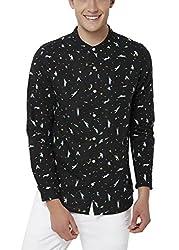 Chumbak Men's Casual Shirt (8904218042482_CMMCS001 M_Medium_Black)