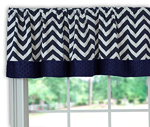 BabyDoll Bedding Baby Doll Minky Chevron Window Valance, Navy