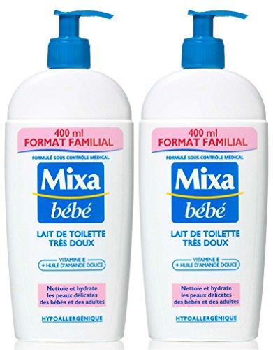 Mixa, Latte detergente e idratante extra delicato, per bambini, 400 ml, 2 pz.
