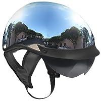 Outlaw T-72 Chrome Dual-Visor Motorcycle Half Helmet by Outlaw Helmets